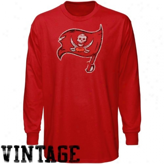 Tampa Bay Buccaneer Tshirts : Reebok Tampa Bay Buccaneer Youth Red Faded Logo Vintage Long Sleeve Tshirts