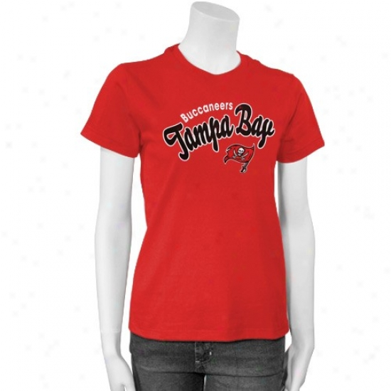 Tampa Bight Buccaneers Apparel: Tampa Bay Buccaneers Red Ladies Distressed Script T-shirt