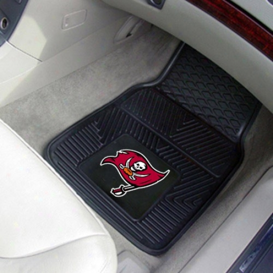 Tampa Bay Buccaneers Black 2-piece Vinyl Car Mat Set