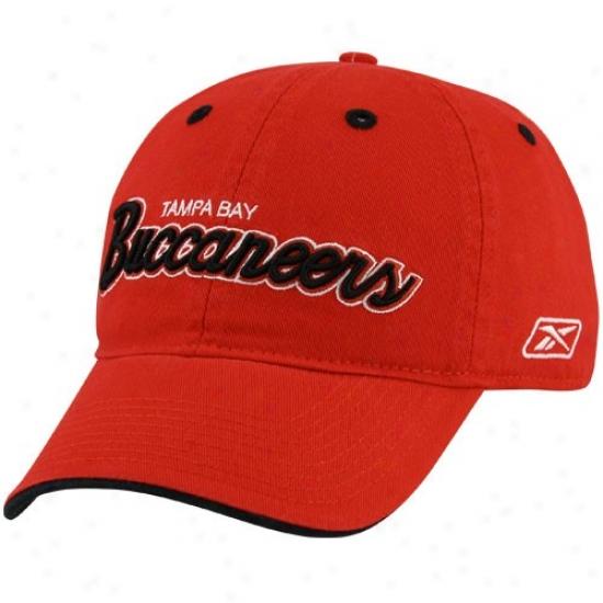 Tampa Bay Buccaneers Gear: Reebok Tampa Bay Buccaneera Red Script Slouxh Hat