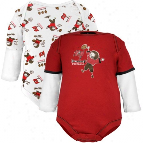 Tampa Bay Buccaneers Infant Red-white Double Layer Sleeves Bodysuif Set