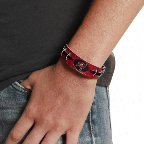 Tampa Bay Buccaneerx Ladies Red Leather Football Bracelet