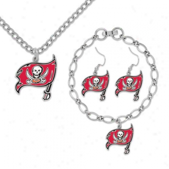 Tampa Bay Buccaneers Ladies Silver-tone Jeweiry Gift Predetermined