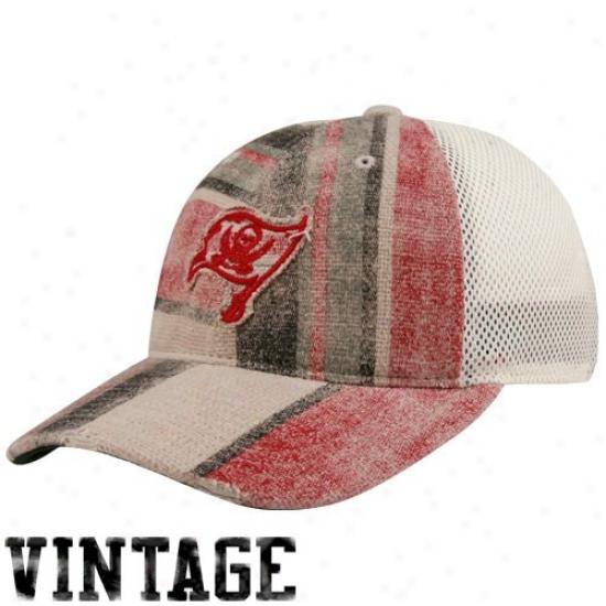 Tampa Bay Buccaneers Merchandise: Reebok Tampa Bay Buccaneers Ladies Natural-red Distressed Stripe Mesh Back Adjustable Hat