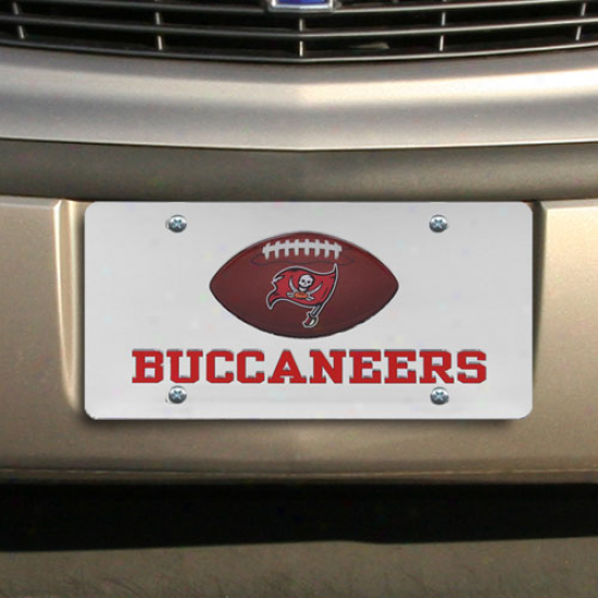 Tampa Bay Bucacneers Mirrored License Plate W/ Domed Football