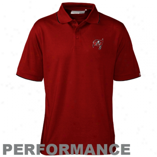 Tampa Bay Buccaneers Polo : Cutter & Buck Tampa Baywood Buccaneers Principal Drytec Cuttwr Tipped Performance Poko