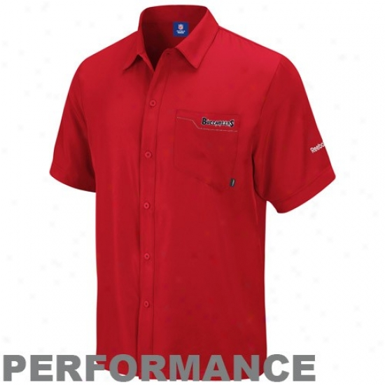 Tampa Bay Buccaneers Polo : Reeobk Tampa Bay Buccaneers Red  Sideline Full Button Performance Polo
