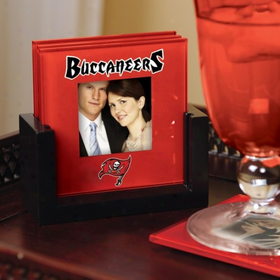 Tampa Bay Buccaneers Red 4-pack Photo Coaster Set