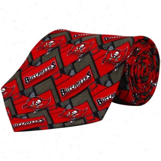 Tampa Bay Buccaneers Red-pewter Block Pattern Tie