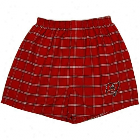 Tampa Check Buccaneers Red Plaid Nfl Cover Pajama Shorts