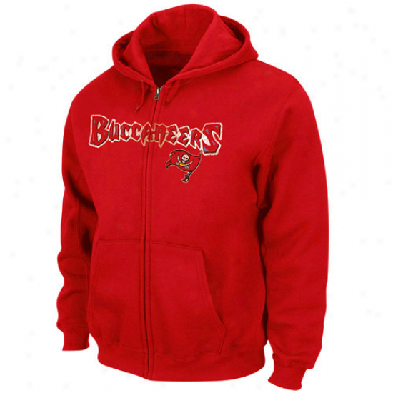 Tampa Bay Buccaneers Sweatshirt : Tampa Bay Buccaneerx Red Touchback Iii Full iZp Sweatshirt