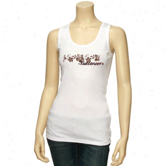 Tampa Bay Buccaneers T Shirt : Reebok Tampa Bay Buccaneers Ladies White Floral Tank Top