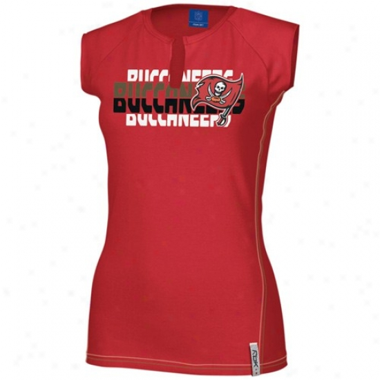 Tampa Bay Buccaneers Tee : Reebok Tampa Bay Buccaneers Ladies Red Astronomy Split Neck Tee