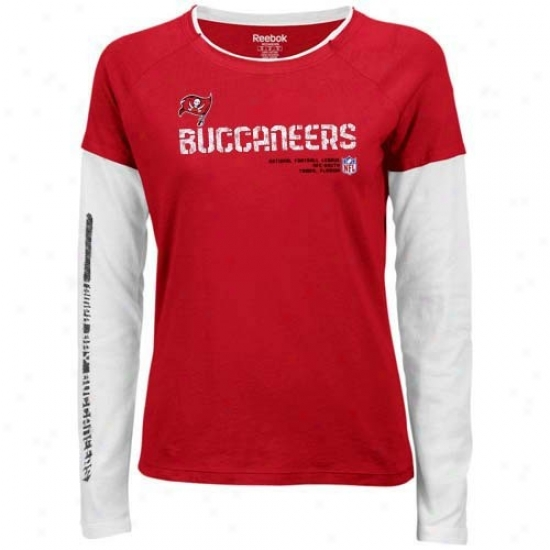 Tampa Bay Buccaneers Tshirts : Reebok Tampa Bay Buccaneers Ladies Red Sideline Tacon Long Sleeve Layered Tissue Tshirrs