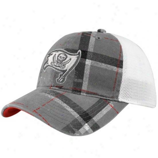 Tampa Bay Bucs Cap : Reebok Tampa Bay Bucs Gray-white Lathe Flex Fit Cap