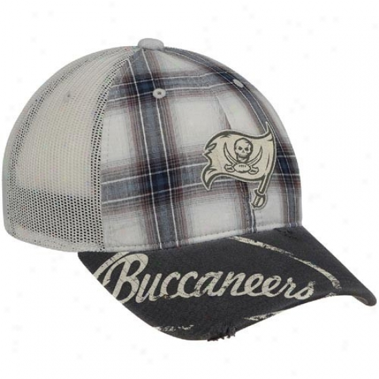 Tampa Bay Bucs Hats : Reebok Tampa Bay Bucs Gray Plaid Mesh Back Slouch Adjustable Hats