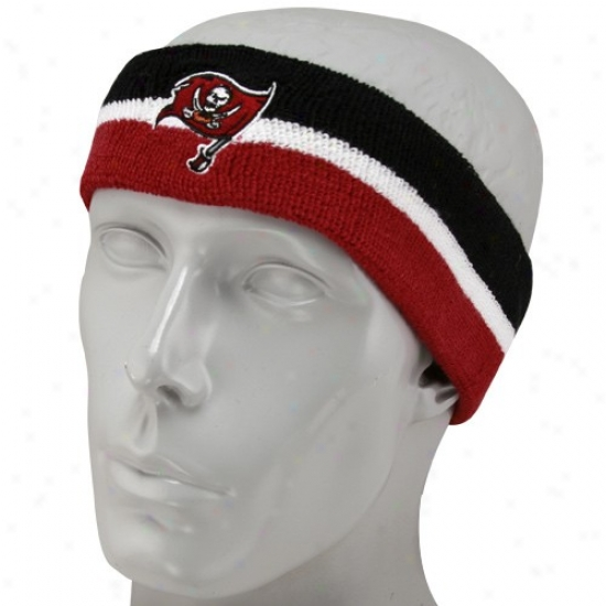 Tampa Bay Bucs Hatts : Reebok Tampa Bay Bucs Striped Black-red Striped Headband