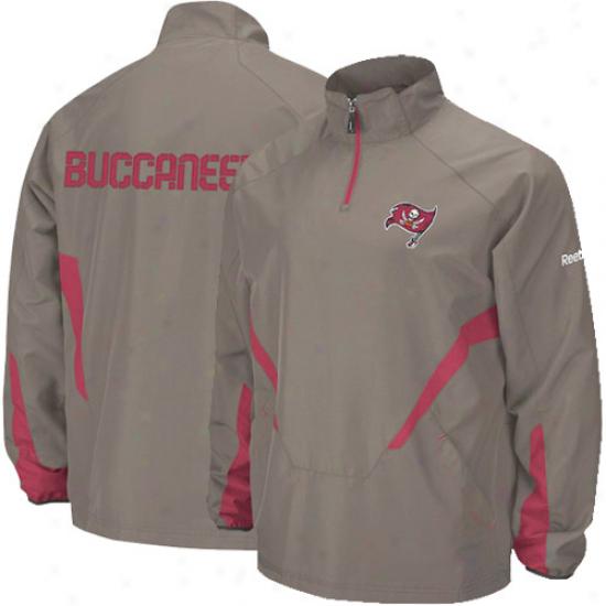 Tampa Bay Bucs Jcaket : Reebok Tampa Bay Bucs Pewter Hot Sideline 1/4 Zip Pullover Wind Jacket