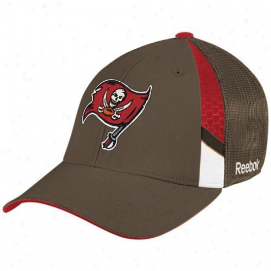 Tampa Bay Bucs Merchandise: Reebok Tampa Bay Bucs Youth Pewter  Draft Day Flex Fit Hat