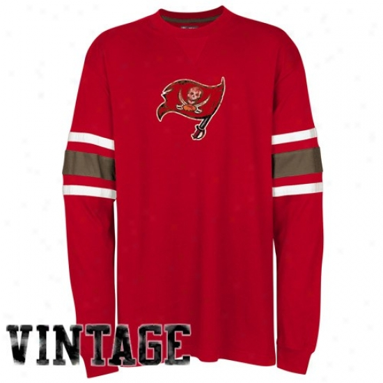 Tampa Bay Bucs T-shirt : Tampa Bay Bucs Red End Line Long Sleeve Vintage T-shirt