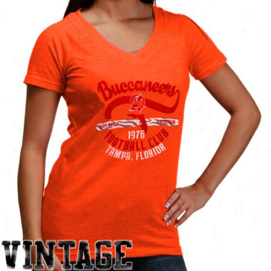 Tampa Bay Bucs Tee : Reebok Tampa Bay Bucs Ladies Orange Glaze Oil Can Flirt Premium Tri-blend Tee