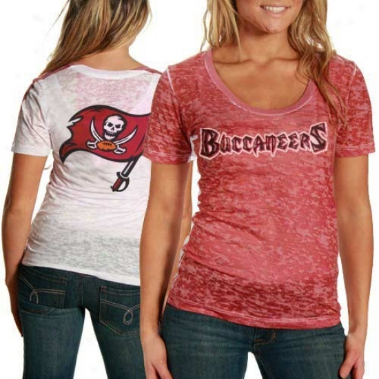 Tampa Bay Bucs Tees : Graze By Alyssa Milano Tampa Bay Bucs Ladies Red-white Sublimated Sheer Burnout Premium Tees