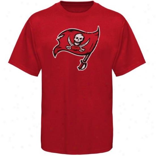 Tampa Bay Bucs Tshirt : Tampa Bay Bucs Red Vintage Logo Slim Fit Tshirt