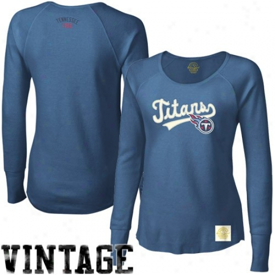 Tennessee Titan Apparel: Reebok Tennessee Titan Ladies Navy Blue Tail Sweep Long Sleeve Premium Thermal T-shirt
