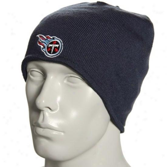 Tennessee Titan Hats : Reebok Tennessee Titan Navy Blue Plane Knit Reversible Beaniee