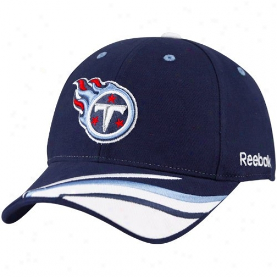 Tennexsee Titan Merchandise: Reebok Tennessee Titan Navy Blue Cut & Sew Adjustable Hat