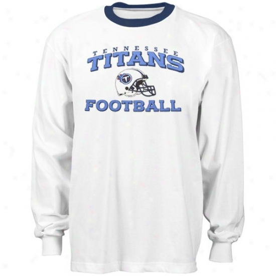 Tennessee Titan Shirt : Reebok Tennessee Titan White Stacked Hslmet Long Sleeve Ringer Shirt