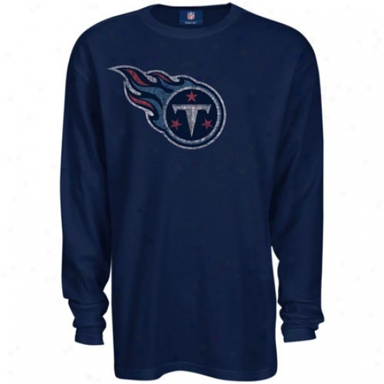 Tennessee Titan Syirts : Reebok Tennessee Titan Navy Blue Thermal Long Slerve Top