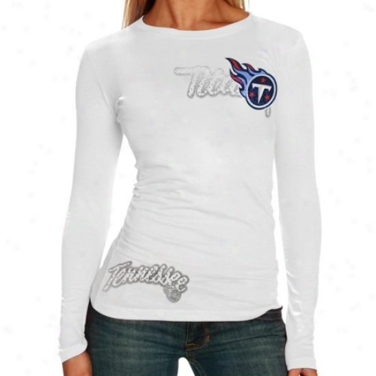 Tennessee Titan Tee : Reebok Tennessee Titan Ladies White Polka Baby Doll Premium Long Sleeve Tes