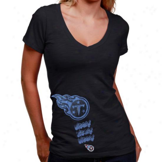 Tennessee Titan Tee : Tennessee Titan Ladies Black Triple Play V-neck Slub Tee
