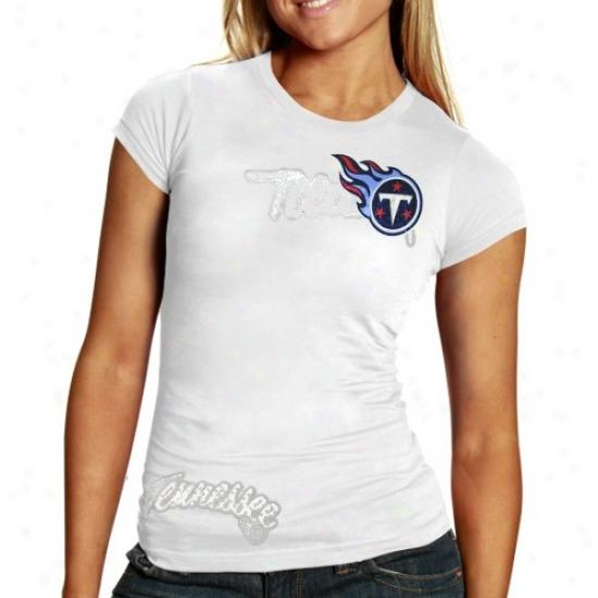 Tennessee Titan Tshirts : Reebok Tennessee Titan Ladies White Polka Baby Doll Premium Tshirts
