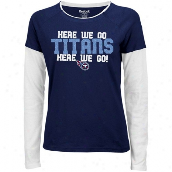 Tennessee Titans Apparel: Reebok Tennessee Titans Ladies Navy Blue Her Cheer Double Layered Tissue T-shirt