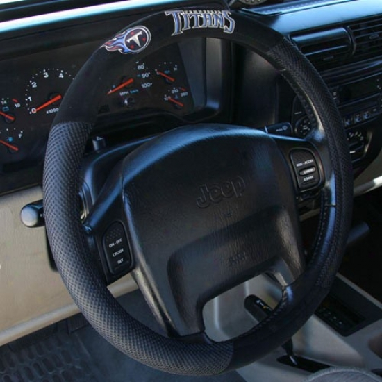 Tennessee Titans Black Poly Suede & Mesh Steering Wheel Cover