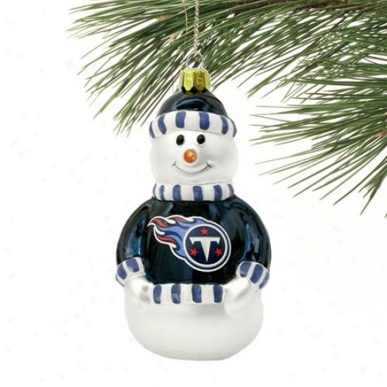 Tennessew Titans Blown Glass Snowman Ornament