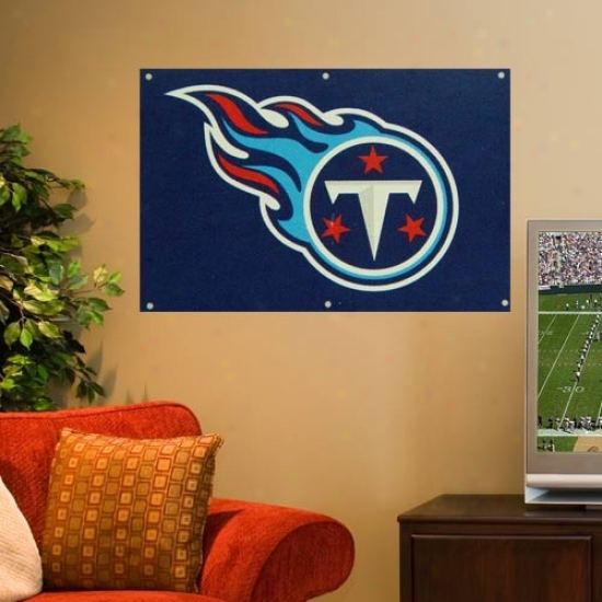 Tennessee Titans Flag : Tennessee Titans 2' X 3' Ships Blue Applique Logo Fan Flag