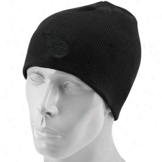 Tennessee Titans Gear: Reebok Tennessee Titans Black Tonal Knit Beanie