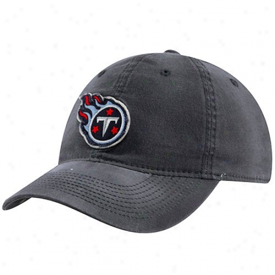 Tennessee Titans Hat : Reebok Twnnessee Titans Navy Blue Distressed Logo Slouch Flex Fit Hat