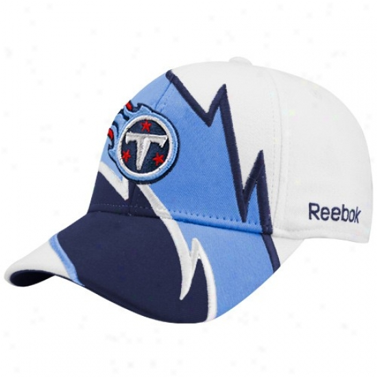 Tennessee Titans Hats : Reebok Tennesser Titans White Electric Flex Fit Hats