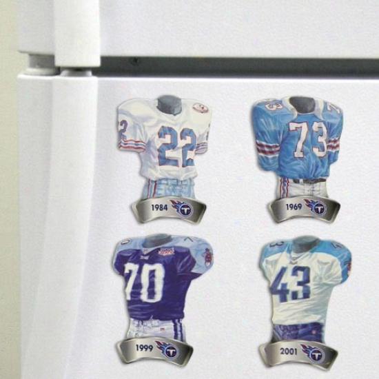 Tennessee Titans Jersey Evolution 4-pacck Magnets