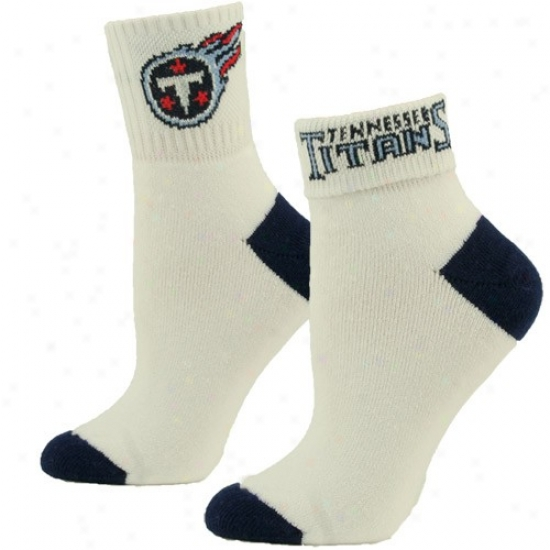 Tennessee Titans Ladies White-navy Blue Roll Socks