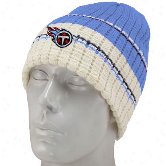 Tennessee Titans Merchandise: Reebok Tenjessee Titans Light Blue Team Stripe Knit Beanie