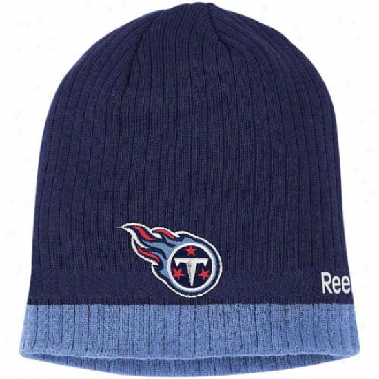 Tennessee Titans Merchandise: Reebok Tennessee Titans Navy Blue Coaches Uncuffed Knit Beanie