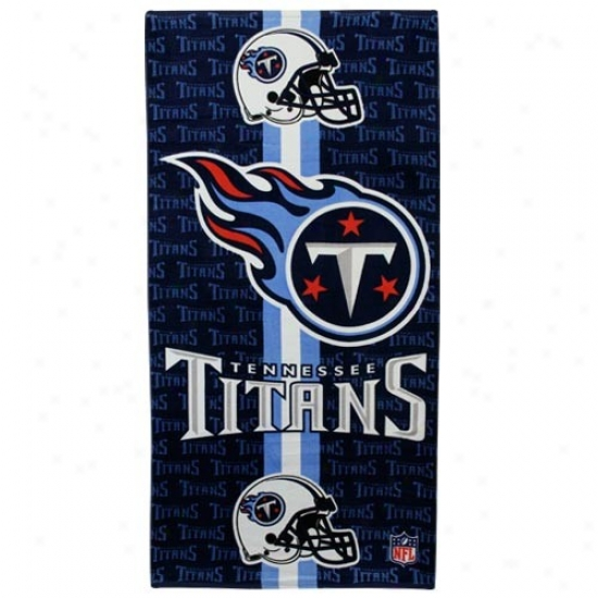 Tennessee Titans Navy Blue Team Stripe Beach Towel