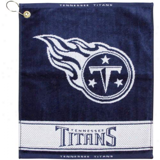 Tennessee Titans Navy Blue Wovne Jacquard Golf Towel