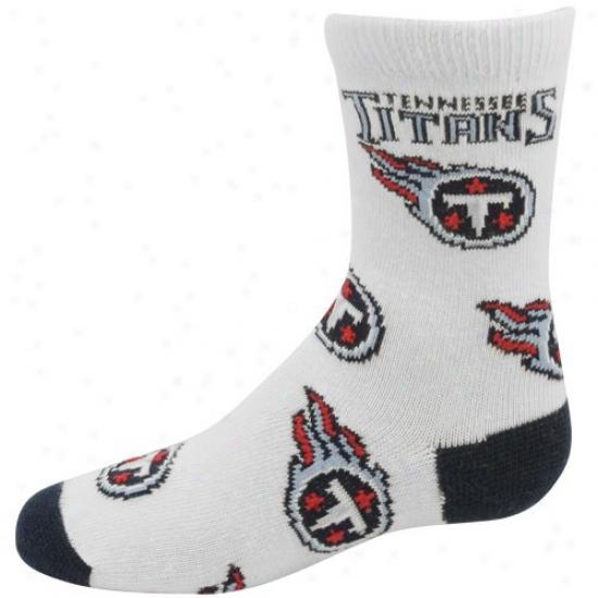 Tennessee Titans Preschool White (6-8) All Over Team Logo Socks