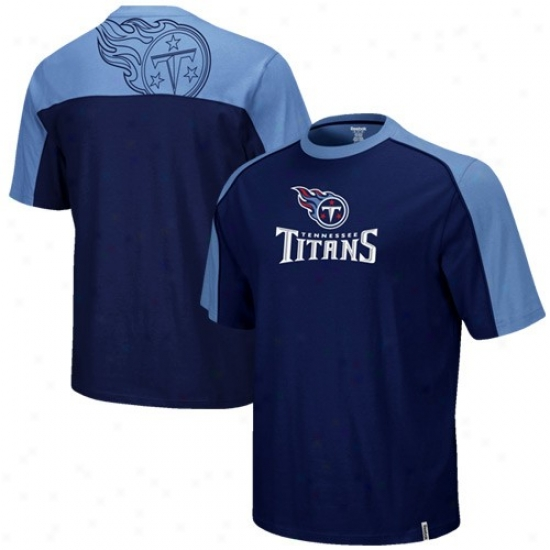 Tennessee Titans Shirt : Reebok Tennessee Titans Youth Navy Blue-light Blue Draft Pick Shirt